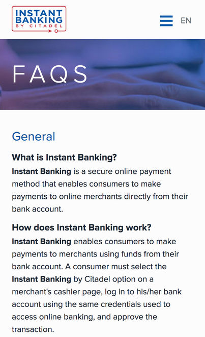 Citadel Commerce image - Mobile FAQ screen