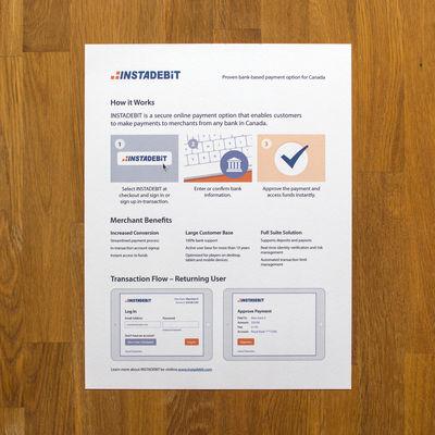 Instadebit image - Single Page Brochure: 21.5 x 28 cm