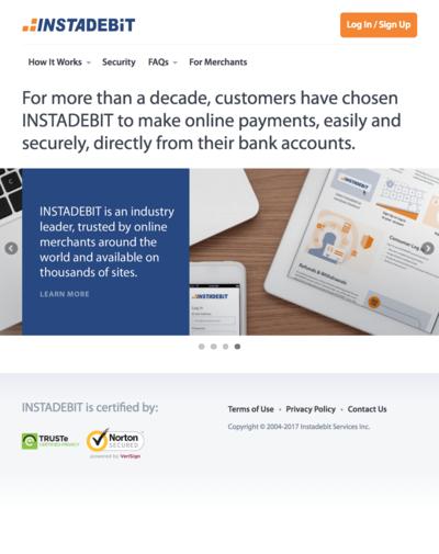 Instadebit image - Instadebit homepage