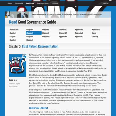 Ontario School Trustees image - Good Governance website