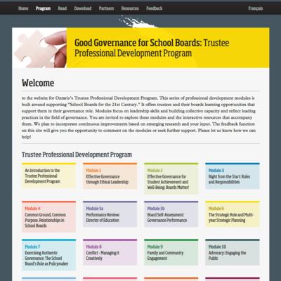 Ontario School Trustees image - Good Governance for School Boards website