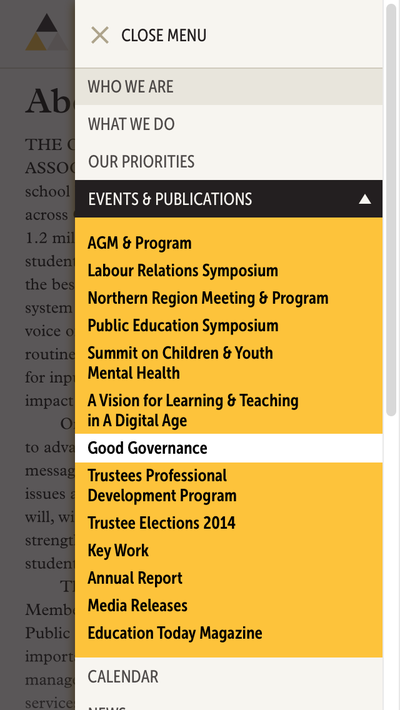OPSBA image - Mobile navigation design